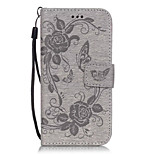 PU Leather Embossed Butterfly Flower Pattern Gray Wallet Case with Card Slots for iPhone 6s 6 Plus