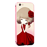 Rose Girl Pattern Metal Frame PC painted  Hard Case for iPhone6/6s/6 Plus/6s Plus