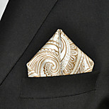 Men Paisley Wedding Gold  100% Silk  Pocket Square Business