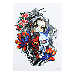 8PCS Body Art Beauty Makeup Tatoo Temporary Skull Pray Flower Picture Design for Women Men Shoulder Tattoo Sticker