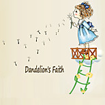 Fashion Dandelion Faith Girl Wall Stickers DIY Removable PVC Children's Bedroom Wall Decals