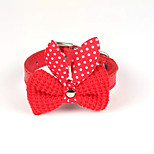 Cat / Dog Collar Adjustable/Retractable / Bowknot Red / Black / Blue / Pink / Yellow / Purple PU Leather / Woolen
