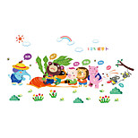Wall Stickers Wall Decals, Cartoon Animals Pull Up the Carrots PVC Wall Sticker