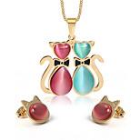 Women's Opal Cute Cat Style Gold Alloy Necklace Earrings Jewelry Set
