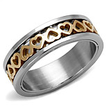 New Heart Design Two-Tone IP Rose Gold Stainless Steel Women Rings Office Ladies Daily Fashion Ring for Women