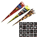 3 Piece Henna Cones Red Brown Black + 20 Stencils 6 * 6cm Temporary Tattoo Kits Body Art Mehandi Ink For Body Paint