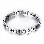 Men's Jewelry Health Care Silver Titanium Steel Hematite Bracelet