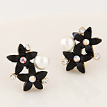 Women's New Boutique European Style Fashion Sweet Shiny Rhinestone Flower Stud Earrings