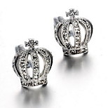 Men's Fashion Crown Crystal Silver Alloy French Shirt Cufflinks (1-Pair)
