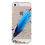 TPU High Purity Translucent Openwork Feather Pattern Soft Phone Case for iPhone 5/5S/ SE