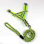 Dog Harness / Leash Reflective Red / Black / Green / Blue / Orange Nylon