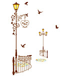 European Style Vintage Cartoon Street Lamp Wall Stickers DIY Removable Fashion Wall Decals