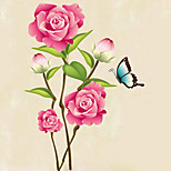 Peony Flower Wall Decals Removable Noble BUTTERFLY FLOWERS Room Wall Stickers PVC Wall Art