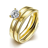 lureme® Golden Plated Stainless Steel Two Lines with Big Zircon Promising Polished Ring