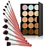 15 Colors Contour Face Cream Makeup Concealer Palette + Powder Brush for Concealer Foundation Blusher