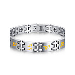 Men's Jewelry Health Care Print Silver Titanium Steel Magnetic Bracelet