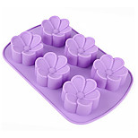 Random Color 1PCS 6 Holes FLower Shape Silicone Mold for Jelly, Chocolate, Soap DIY Bakeware