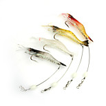 3pcs Fishing Lures 95mm/6g Luminous Shrimp Soft Bait with Hook Random Color