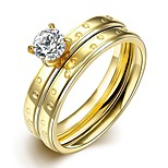 New Individual Small Circles White Zircon Gold-Plated Titanium Steel Statement Rings(Golden)(1Set)