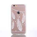 TPU White Feather Pattern Transparent Back Case for iPhone 6s 6 Plus