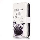 PU Leather Embossed Pug Wallet Case with 9 Card Slots for iPhone SE 5s 5