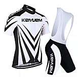 KEIYUEM Bike/Cycling Padded Shorts / Jersey + Bib Shorts / Clothing Sets/Suits Women's / Men's / Unisex Short SleeveBreathable / Quick