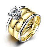 lureme® Luxurious Golden and Silver Tone Stainless Steel Big Zircon Womens Girls Polished Ring 2Pcs A Set