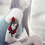 Fashion Large Temporary Tattoos Rose Life Sexy Body Art Waterproof Tattoo Stickers 2PCS  (Size: 5.71'' by 8.27'')