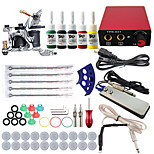Professional Complete 1 Tattoo Machine Kit 5PCS Ink Power Supply Needle Grips Tips