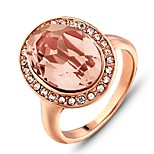 2016 Noble Rhinestone Luxurious Rose Gold Light Pink Band Ring For Women