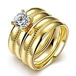 Mode anmutige unisex weißen Zirkon vergoldet Titan Stahl Paar Ringe (goldene) (1set)
