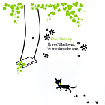 Leisure One Fine Day Swing Cat Wall Stickers Removable Fashion Living Room/Bedroom PVC Wall Decals