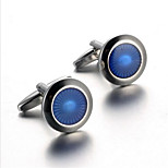 Men's Fashion Blue Round Face Silver Alloy French Shirt Cufflinks (1-Pair)