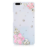 Rhinestone Hard Back Cover for Huawei Honor 6Plus(white camellia powder)