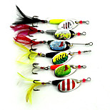 18.2cm 7.71g Spoon Metal Fishing Lures Set Spinner Baits CrankBait Bass Tackle Hook 6 Pcs/set