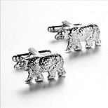 Men's Fashion Bear Style Silver Alloy French Shirt Cufflinks (1-Pair)