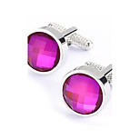 Men's Fashion Purple Crystal Alloy French Shirt Cufflinks (1-Pair)