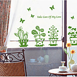Green Bonsai Flowers With Butterfly Wall Sticker Coffee Shop Glass Home Decor Wall Stickers