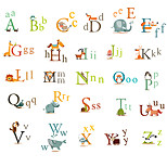 26 English Letters Wall Stickers Animals Kindergarten Wall Art Environmental PVC Children's Bedroom Wall Decals