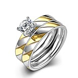 New Fashion Gold-Silver Stripes White Zircon Gold-Plated Titanium Steel Statement Rings(Gold-Silver)(1Set)