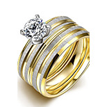 lureme® Luxurious Golden Plated with Matte Silver Tone Stainless Steel Big Zircon Ring 2Pcs A Set