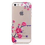 TPU High Purity Translucent Openwork Plum Flower Pattern Soft Phone Case for iPhone 5/5S/ SE