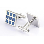Men's Fashion Blue Grid Style Alloy French Shirt Cufflinks (1-Pair)