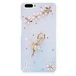 Rhinestone Hard Back Cover for Huawei Honor 6Plus(white - flower girl)