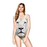 FuLang swim One-Piece Suits   Paige  Thin   sexy backless  White lion  SC079