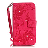 Diamonds Butterfly Flower Color Double-sided Embossed Card Holder Lanyard PU Leather Phone Case for LG G5