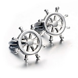 Men's Fashion Rudder Style Silver Alloy French Shirt Cufflinks (1-Pair)