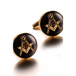 Men's Fashion Club Print Gold Alloy French Shirt Cufflinks (1-Pair)