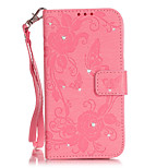 PU Leather Rhinestone Butterfly Flower Embossed Wallet Case for iPhone SE  5s  5