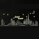 Luminous Dubai City Building Architecture Luminous Wall Stickers Removable Bedroom Living Room Fashion Wall Decals